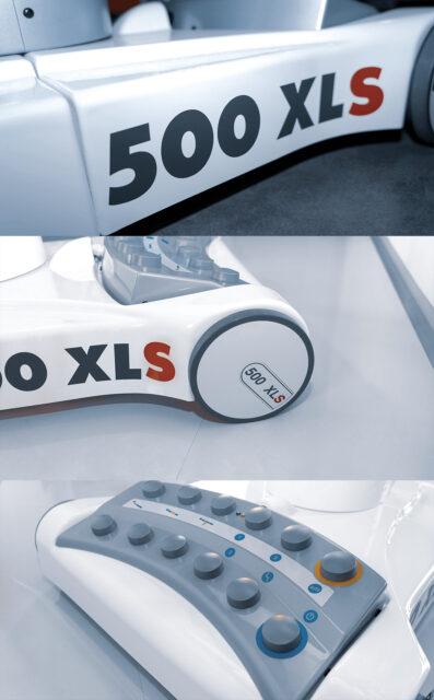 Detailaufnahmen des Fahrwerks und der Fußtastatur des Behandlungsstuhls 500 XLS functionalClass